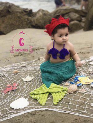 Mermaid crochet set , photography baby crochet costume, handmade, bikini top for Sale in Corona, CA