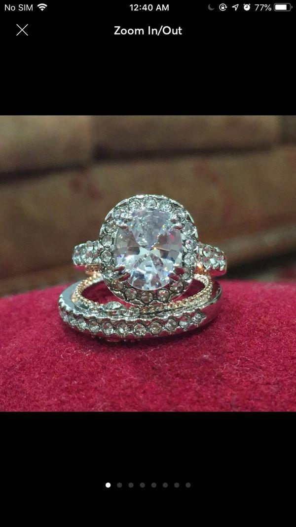 18k gold filled topaz wedding engagement ring band set