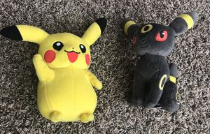 Pikachu and Umbreon Pokèmon plushies for Sale in Goodyear, AZ