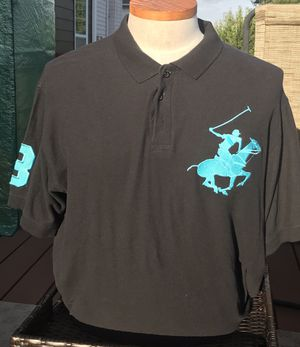 Beverly Hills Polo Club Mens Big Pony Logo #3 Polo Shirt Black & Teal Size XL for Sale in Mableton, GA