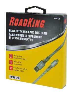 ROADKING® RK06136 ROADKING 6 HEAVY-DUTY MICRO USB CHARGE AND SYNC CABLE SILVER for Sale in San Fernando, CA