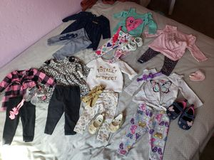 6 month Carter's girl clothes with shoes & bows for Sale in Tucson, AZ