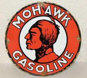 Vintage Mohawk Gasoline Oil Porcelain Sign Gas Pump Station for Sale in Lowellville, OH