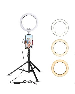 """10.2"""" Selfie Ring Light with Tripod Stand & Cell Phone Holder for Live Stream/Makeup, UBeesize Mini Led Camera Ringlight for YouTube for Sale in Bakersfield, CA"""