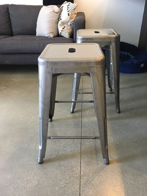 Brushed Steel Barstools (Set of 2) | Great Condition for Sale in Culver City, CA