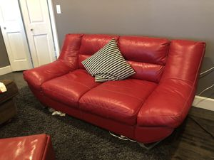 Italian Red Leather Love Sofa for Sale in Chester, MD