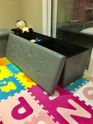 New in box 43x15x15 inches foldable storage ottoman toys clothes storage seating black brown or grey for Sale in Pico Rivera, CA