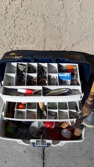 Two tray Plano tackle box and Heddon Pal Pro Weight Fishing Rod for Sale in Victorville, CA