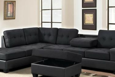 Heights Black/Black Reversible Sectional with Storage Ottoman VENDORHAPPY HOMES for Sale in Houston,  TX