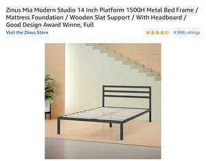 Modern Metal Bed Frame, Full Size Bed for Sale in Queens, NY