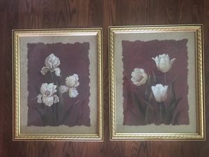 2 Framed Home Interior Art Decor Pictures Gold and Maroon for Sale in San Antonio, TX