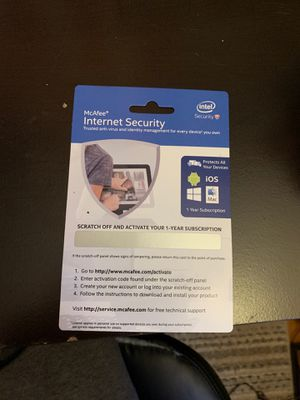 Mcafee 1 yr internet security for Sale in Romeoville, IL