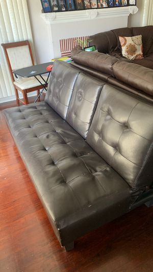 Leather Futon with cup holders for Sale in Los Angeles, CA