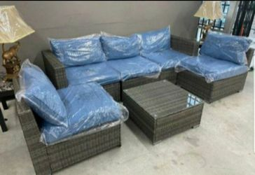 Atlas 6pc patio set beige and blue 💙💙JUST $39 Down payment 🚚Have delivery for Sale in Houston,  TX