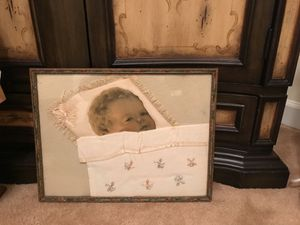 Antique Baby Picture under glass vintage frame for Sale in Gainesville, VA