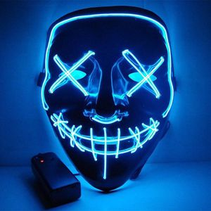 New halloween costume mask cosplay rave party LED glow scary mask costume party orange pink green or white purge movie dance club 2 AA Battery Requir for Sale in Whittier, CA