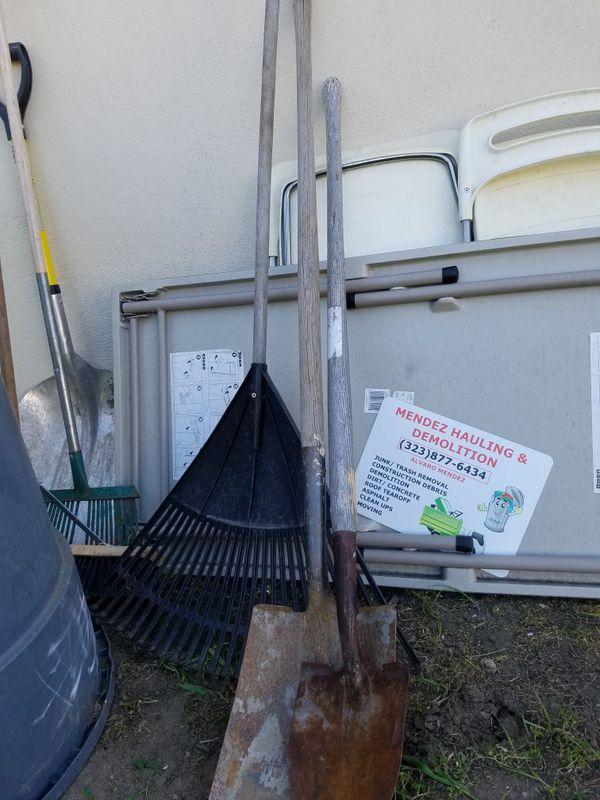 Shovels Ready to pick up trash yard clean up