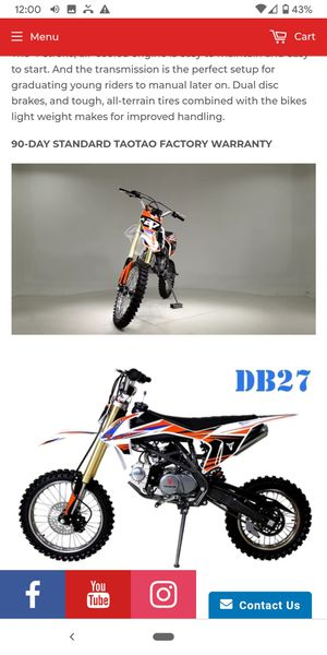 DB 27 125CC 4 SPEED MANUAL DIRT BIKE TAOTAO 72HR sale at turbopowersports for Sale in Los Angeles, CA