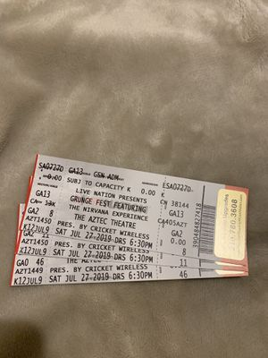 Set of 3 tickets to Grunge Fest Featuring The Nirvana Experience. Get All 3 X$15 for Sale in San Antonio, TX