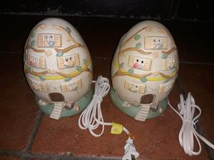 2 ceramic egg house plug-in lamps for Sale in Lawndale, CA