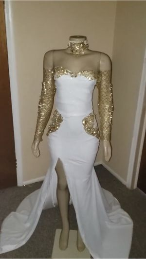 White & Gold custom made prom dress! for Sale in Lawrence, MA