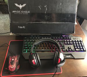 HAVIT Gaming Keyboard Mouse Headset & Mouse Pad Kit, Rainbow LED Backlit Wired, Over Ear Headphone with Mic for PC, Computer, Xbox ONE & PS4, Tablet, for Sale in Los Angeles, CA