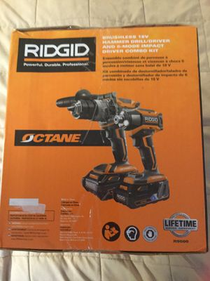 Octane Ridgid, rigid,brushless, 18 volt, cordless,combo set Hammer Drill, Impact Drill 6AH and 3AH Bluetooth batteries for Sale in DuPont, WA