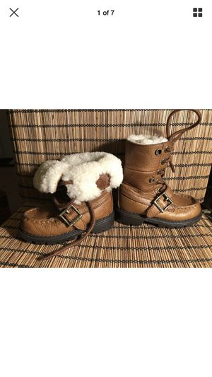 POLO RALPH LAUREN toddlers kids sz 4.5 brown real leather winter snow fur boots EUC!! for Sale in Portland, OR