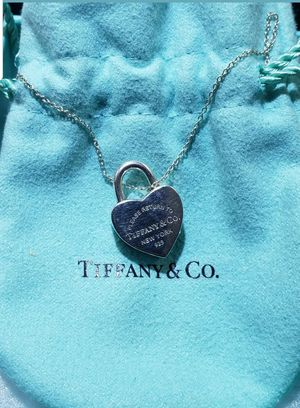 Tiffany & Co padlock heart charm with necklace Sterling silver for Sale in Lombard, IL