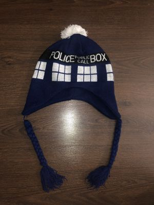 Doctor Who BBC TARDIS Police Public Call Box Laplander Blue Beanie Knit Cap hat 2009 for Sale in Tempe, AZ