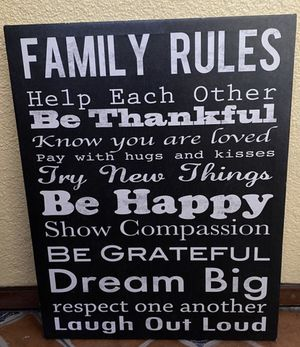 Family rules wall art canvas, 15 1/2in x 19 1/2in for Sale in San Diego, CA
