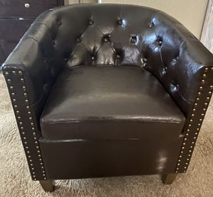 I'm selling my brown leather chair and my folding wood corner shelf both items for $55 I just don't need those any more for pick up only by Las Vegas for Sale in North Las Vegas, NV