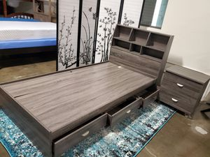 TWIN SIZE Storage Bed Frame with Bookcase Headboard for Sale in Santa Ana, CA