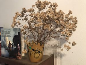 Dried Flowers, Metal Vase, book. for Sale in North Tustin, CA