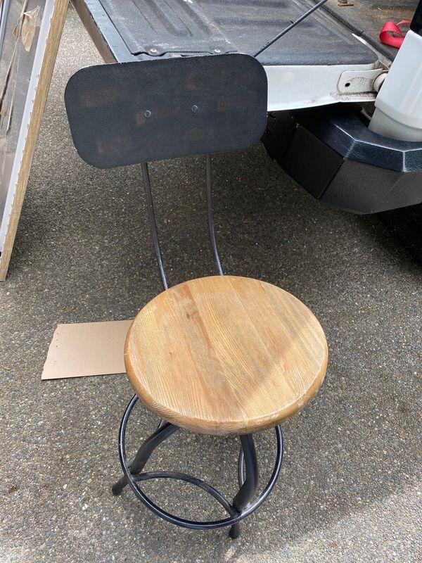 Industrial style adjustable bar stool- needs repair