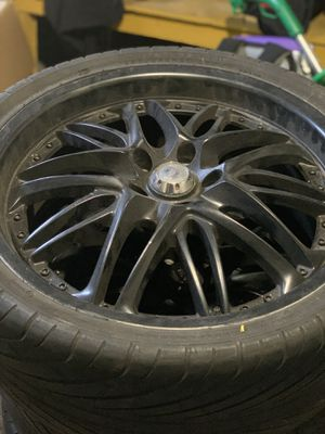 "20"" flat black rims and tires for Sale in Providence, RI"