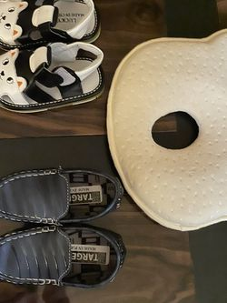 2 Pairs Of Baby Shoes And A Pillow For New Borns for Sale in Gainesville,  VA