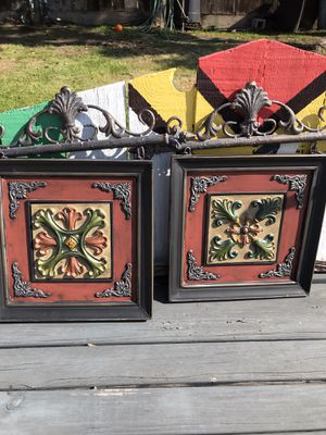 Wrought iron decor set of 2 measurements: frames are 14x14 inches they are attached to iron decor on top $60. 22 inches long it's big for Sale in Fresno, CA