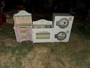 Kids wooden laundry amd kitchen set for Sale in West Covina, CA