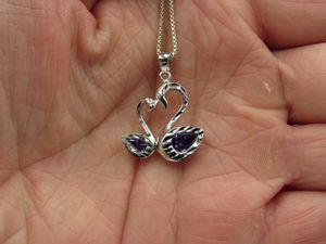 """16"""" Sterling Silver Purple Glass Swan Mates Pendant Necklace Vintage Gift Idea Statement Minimalist Cute Everyday Promise Everyday Special for Sale in Bothell, WA"""