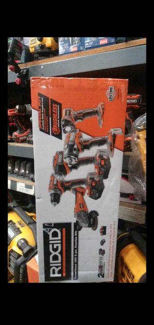 RIDGID 18V LITHIUM ION BRUSHLESS CORDLESS 5 TOOL COMBO KIT WITH (1) 4.0 AH BATTERY (1) 2.0 AH BATTERY CHARGER AND BAG for Sale in San Bernardino, CA