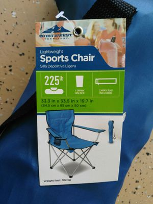 New Northwest Blue Sports Outdoor Camping Folding Chair for Sale in Palm Desert, CA