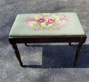 Lovely Antique Piano Bench with Needlepoint Cushion for Sale in Concord, MA
