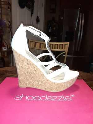 "Shoedazzle Daia White Platform Bling Strap Open Toe Cork Wedge 5"" Heel Shoe Sz 8 for Sale in Cahokia, IL"