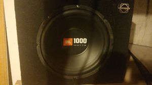 Jbl 1000 watt 12inch subwoofer in angled bassworx box for Sale in Divide, CO