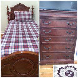 Brown Twin Bed With Chest for Sale in Nashville,  TN