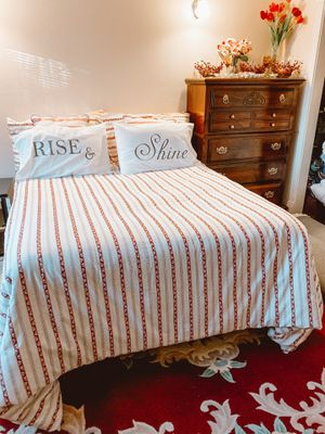 Queen bed frame with boxspring and mattress for Sale in Portland, OR
