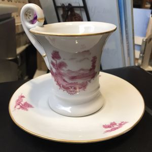Antique German Tea Cup And Sauser Fisherman And Trees for Sale in Elma, WA