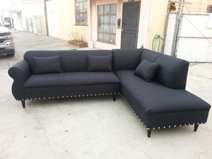NEW 9X7FT DOMINO BLACK FABRIC SECTIONAL CHAISE for Sale in Henderson, NV