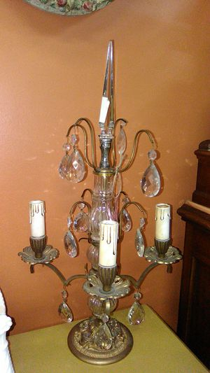Vintage tabletop Chandelier gold Gilt with crystals $125 for Sale in Spring Valley, CA